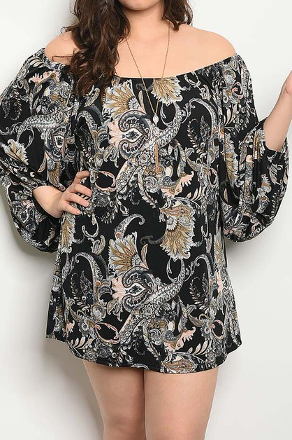 OFF SHOULDER PAISLEY PRINT DRESS - orangeshine.com