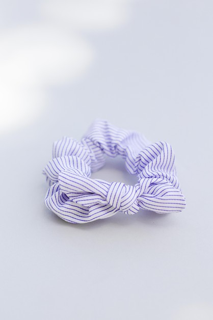 Stripe Bow Hair Tie Hair Scrunchie - orangeshine.com