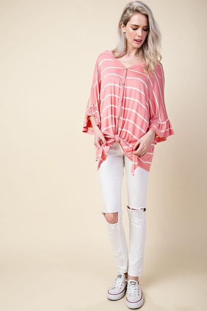 Casual Button Down V Neck Top  - orangeshine.com