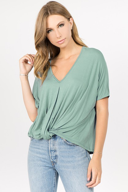 Jersey Knit Twist Dolman Top - orangeshine.com