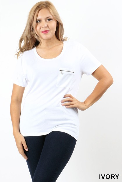 SCOOP NECK TEE WITH ZIPPERED POCKET - orangeshine.com