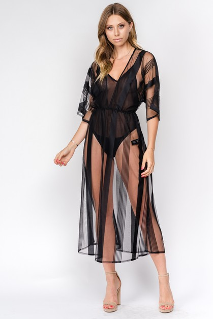 Mesh Stripe Cover Up - orangeshine.com