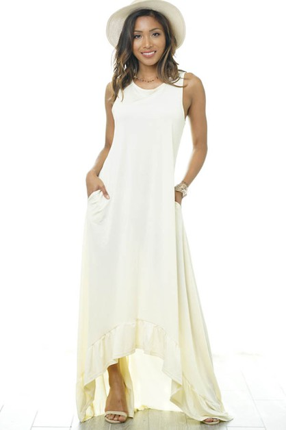 Scoop Neckline Sleeveless Maxi Dress - orangeshine.com