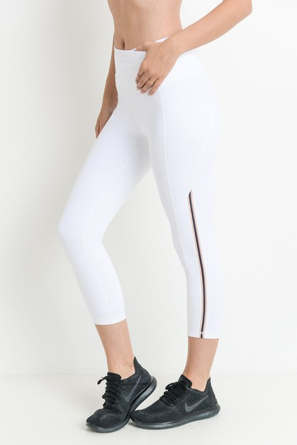 Highwaist Contrast Side Piping Capri - orangeshine.com