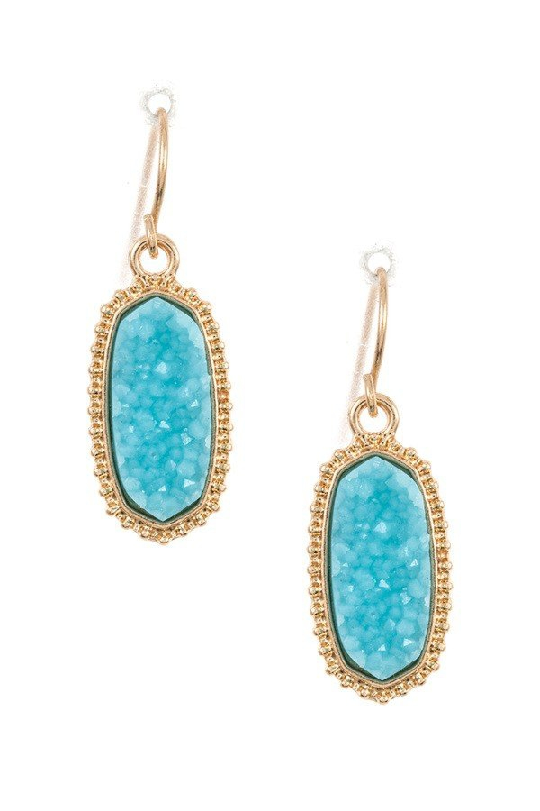 Stone Dotted Framed Dangle Earring  - orangeshine.com