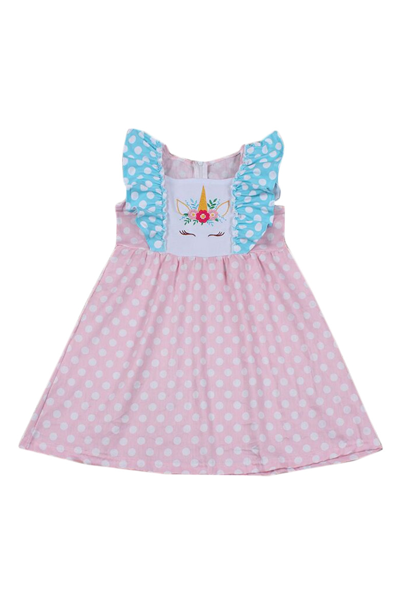 Pink Unicorn Ruffle Dress - orangeshine.com