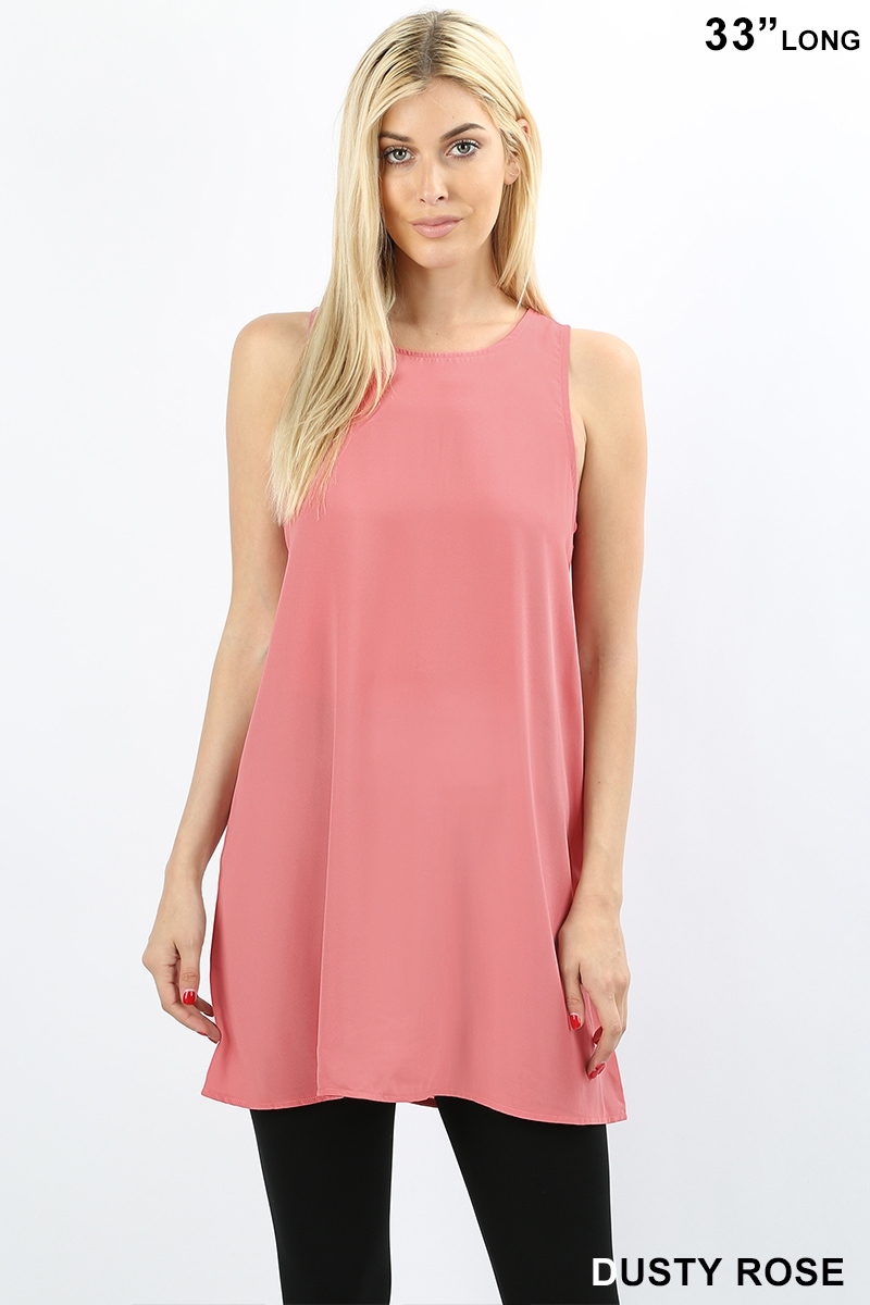 WOVEN SLEEVELESS SHIFT DRESS - orangeshine.com