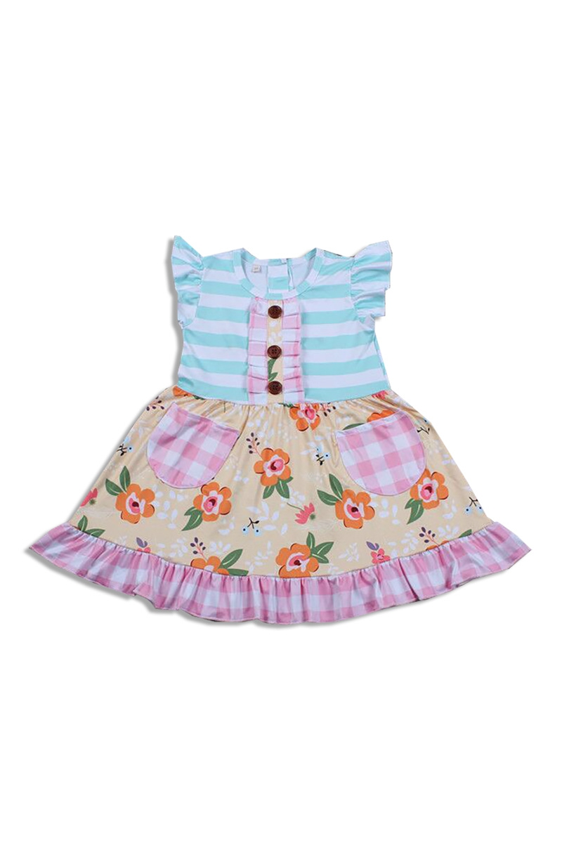Mint Ruffle Dress with Flower Print - orangeshine.com