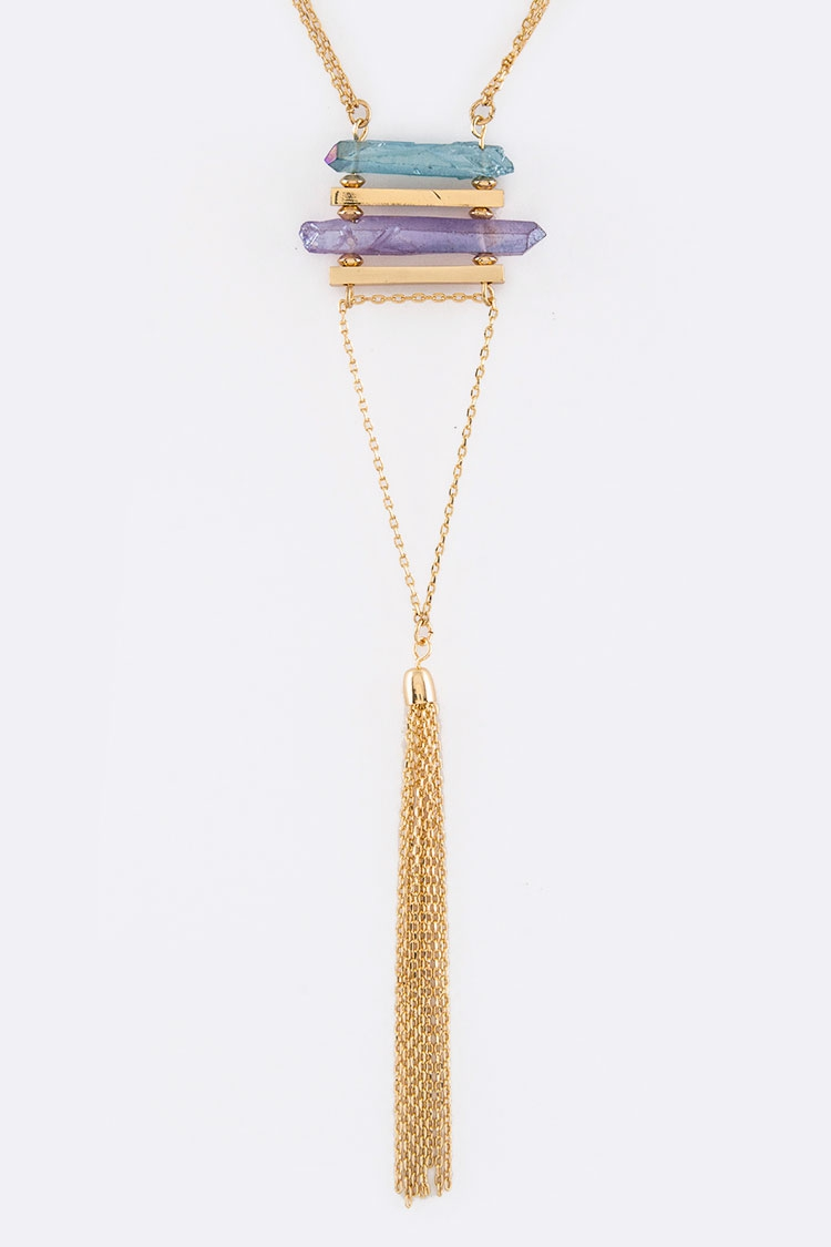 Quartz and Chain Tassel Necklace - orangeshine.com