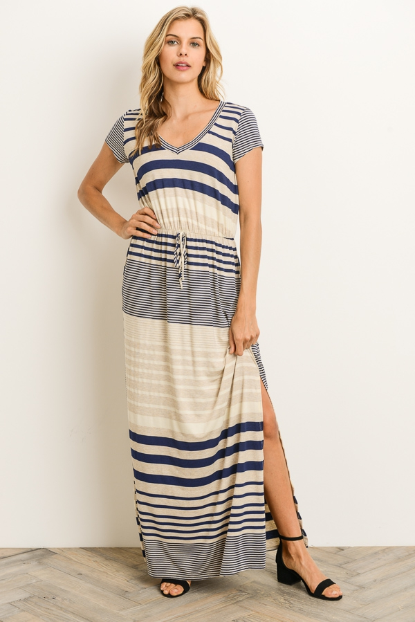 Stripe Maxi Dress - orangeshine.com