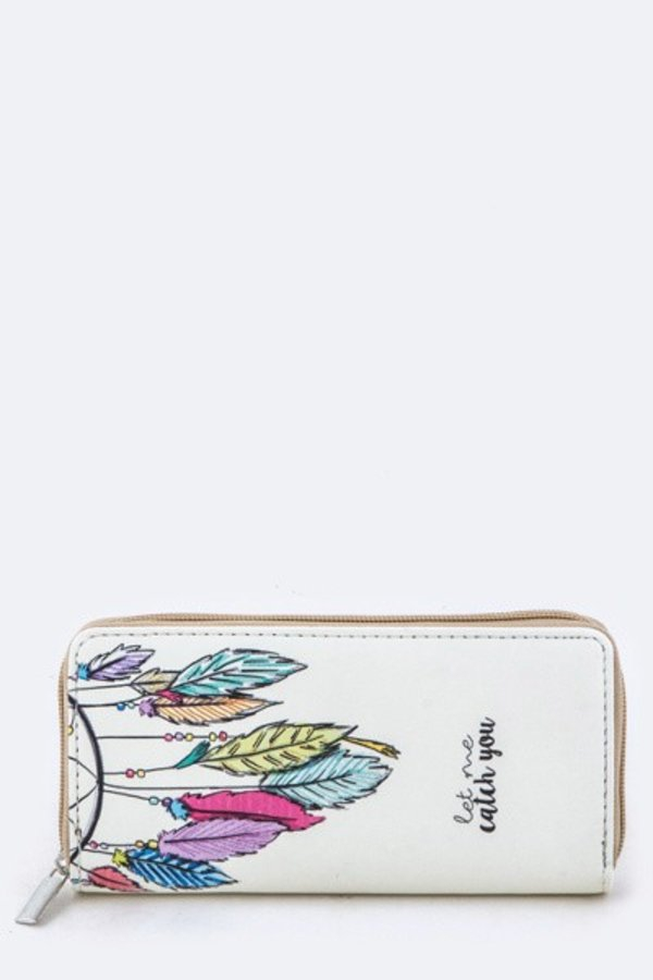 Dreamcatcher Print Zipper Wallet - orangeshine.com