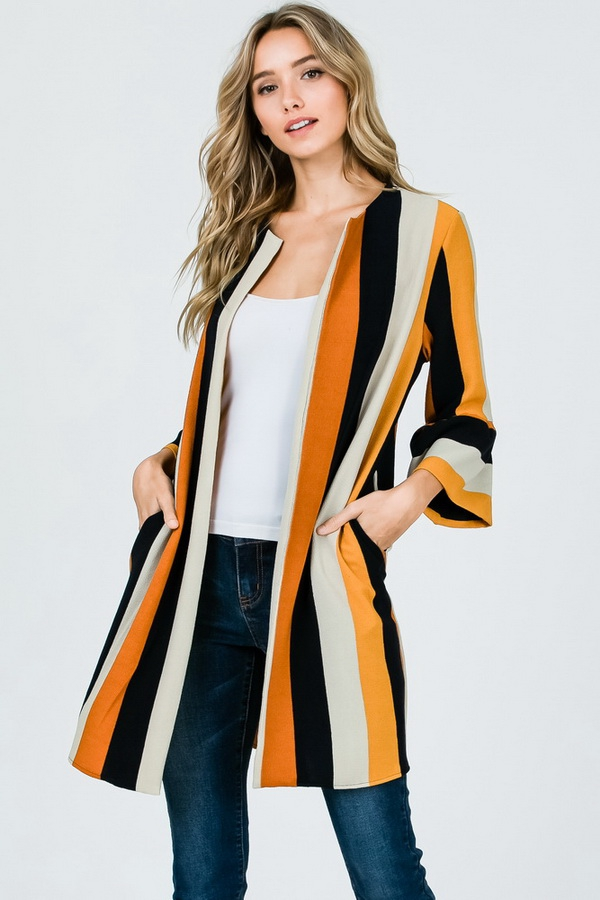 Striped Cardigan - orangeshine.com