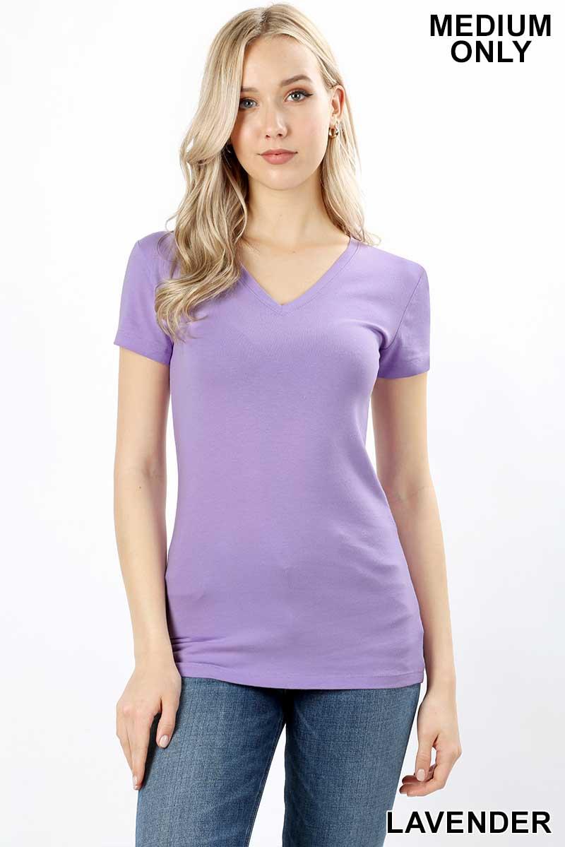 903ce6ee6 ZENANA - Basic Cotton V-Neck Short Sleeve Tee | Orangeshine.com