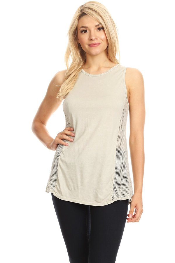 MINERAL SIDE MESH DETAIL TANK TOP - orangeshine.com
