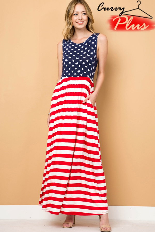 TRENDY U - Plus Size American Flag Maxi Dress | Orangeshine.com