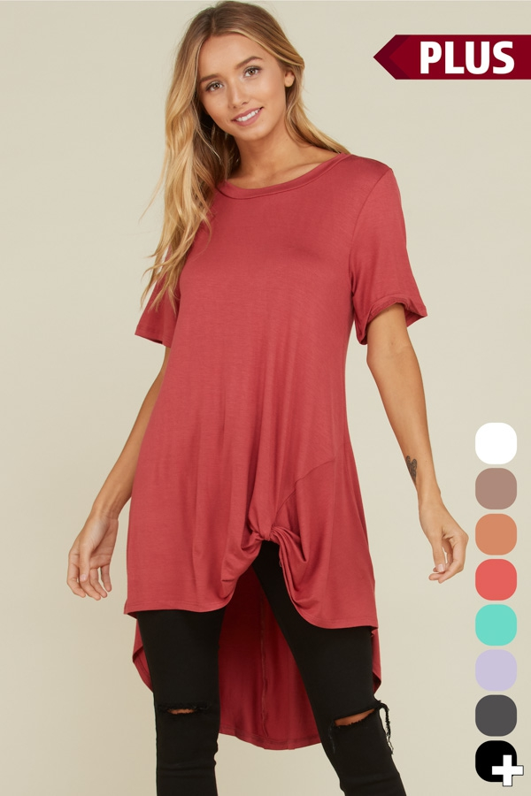 Plus Size Hi Low Front Tie Tops - orangeshine.com