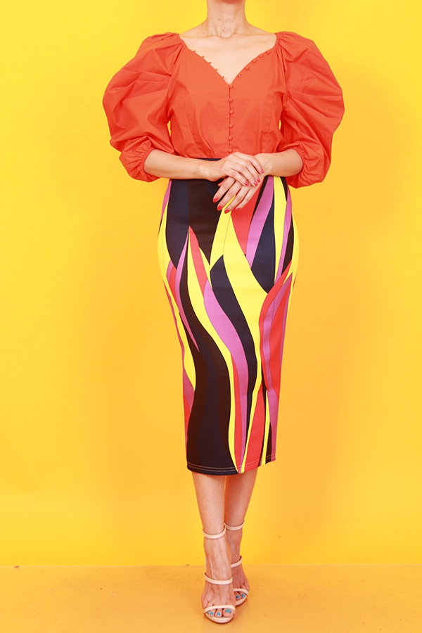 ORANGE POWER SHOULDER BLOUSE - orangeshine.com