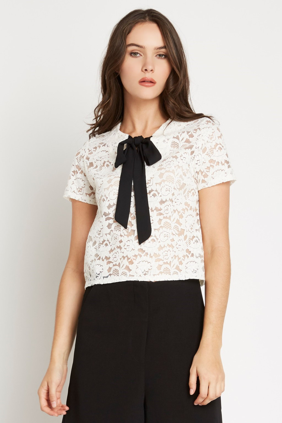 Off White Bow Tie Lace Top - orangeshine.com