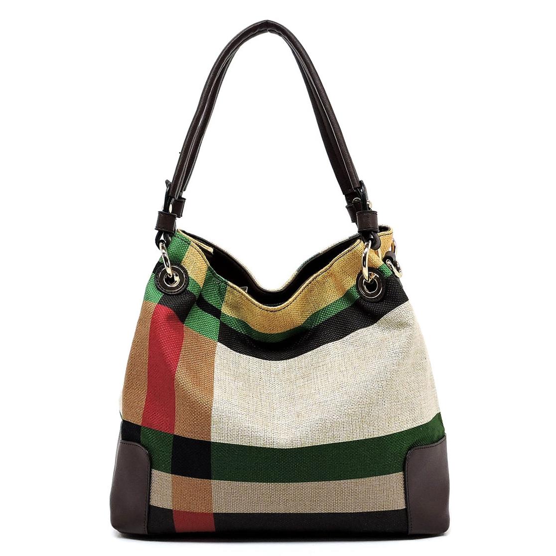 f9bdd1735e FASHION BRIDGE Wholesale Plaid Check Linen Shoulder Bag ...