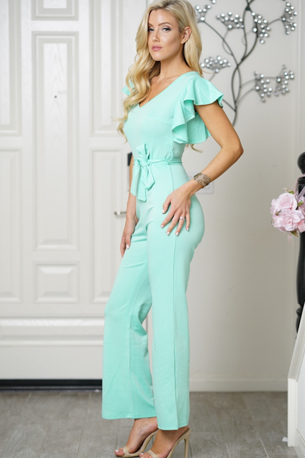 V-neck Short Sleeve Jumpsuit - orangeshine.com
