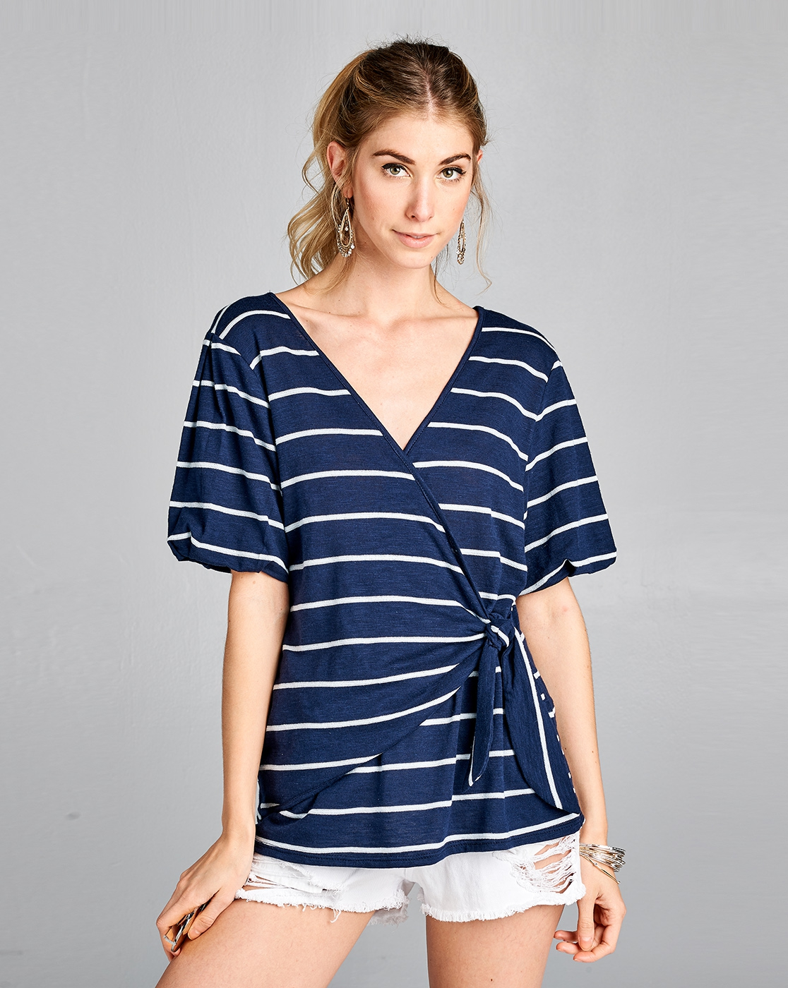 STRIPED SS WRAP TIE TOP - orangeshine.com