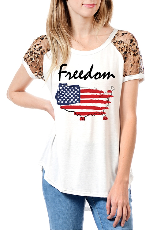 FREEDOM AMERICA GRAPHIC SHORT TOP - orangeshine.com