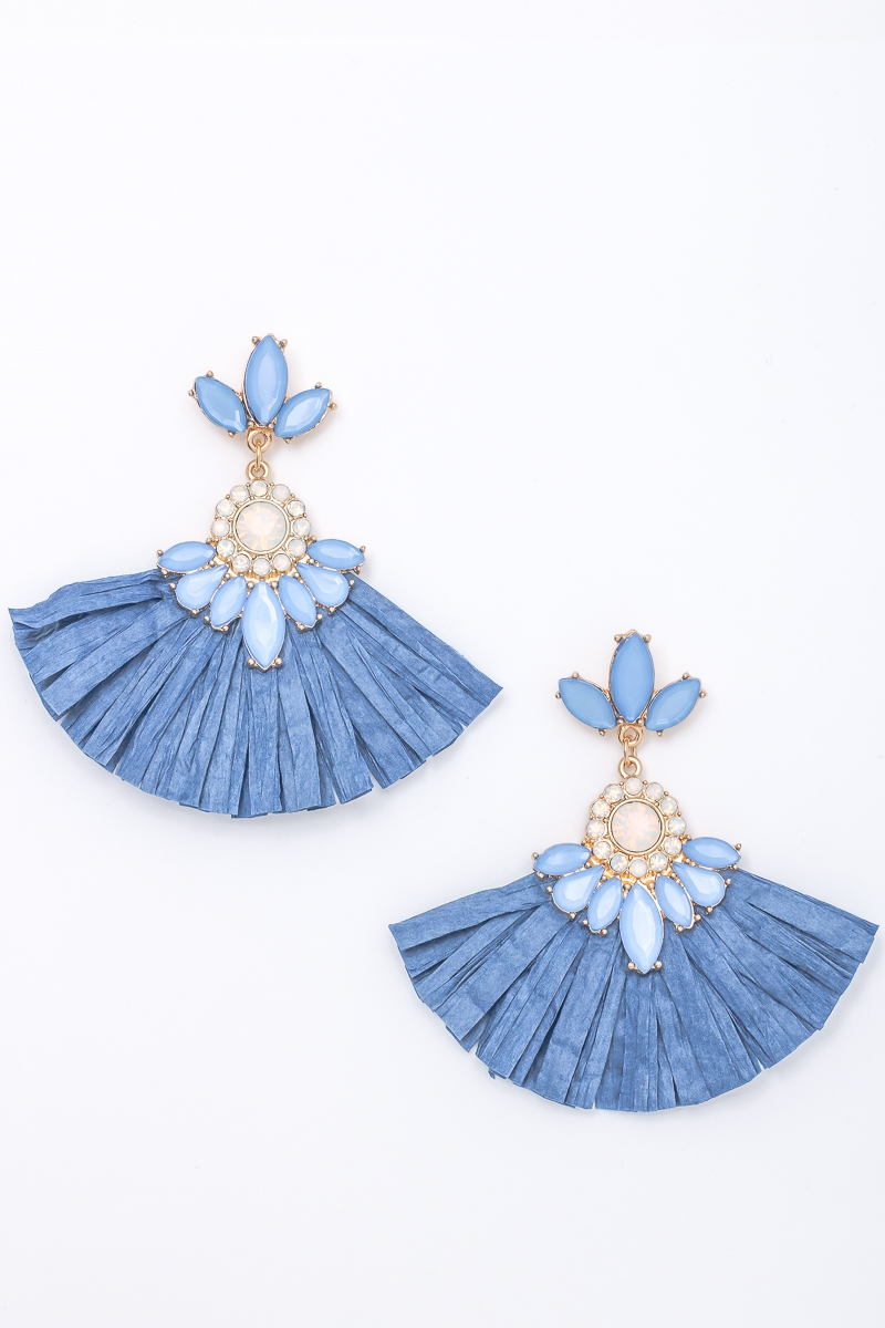 Fanned Out Paper Crystal Earrings - orangeshine.com