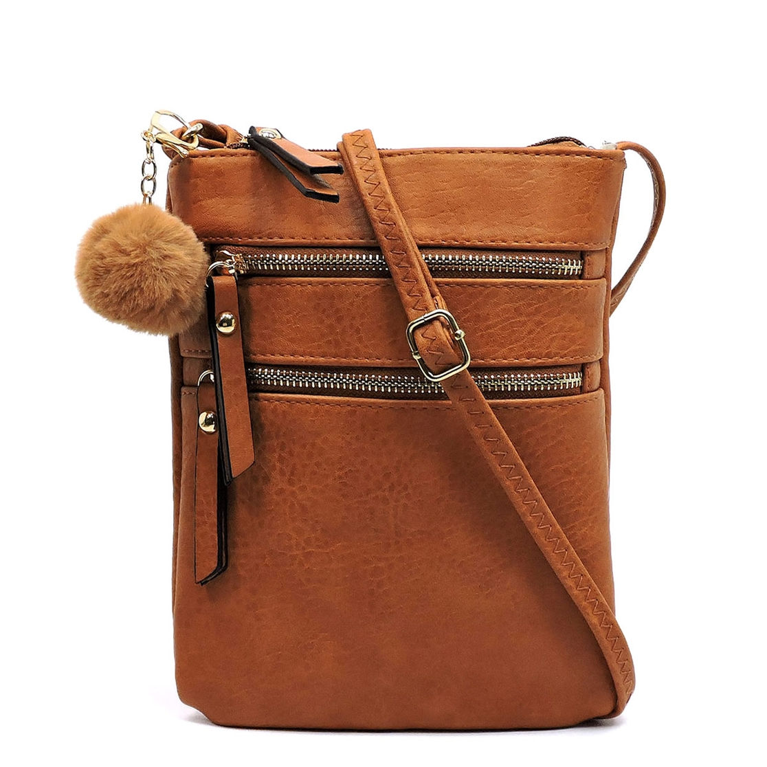 Fashion Multi Zip Crossbody Bag - orangeshine.com