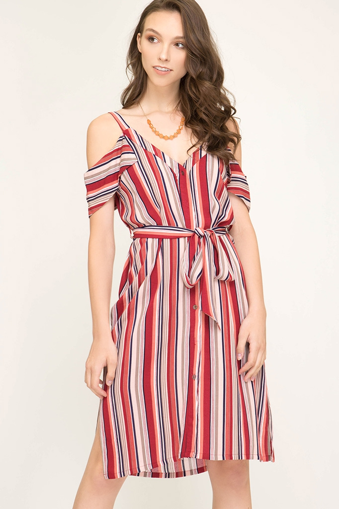 SL7435 - STRIPED WOVEN MIDI DRESS - orangeshine.com