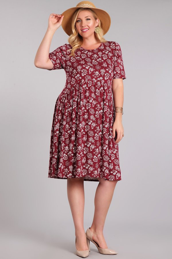 PLUS KNIT FLORAL DRESS - orangeshine.com