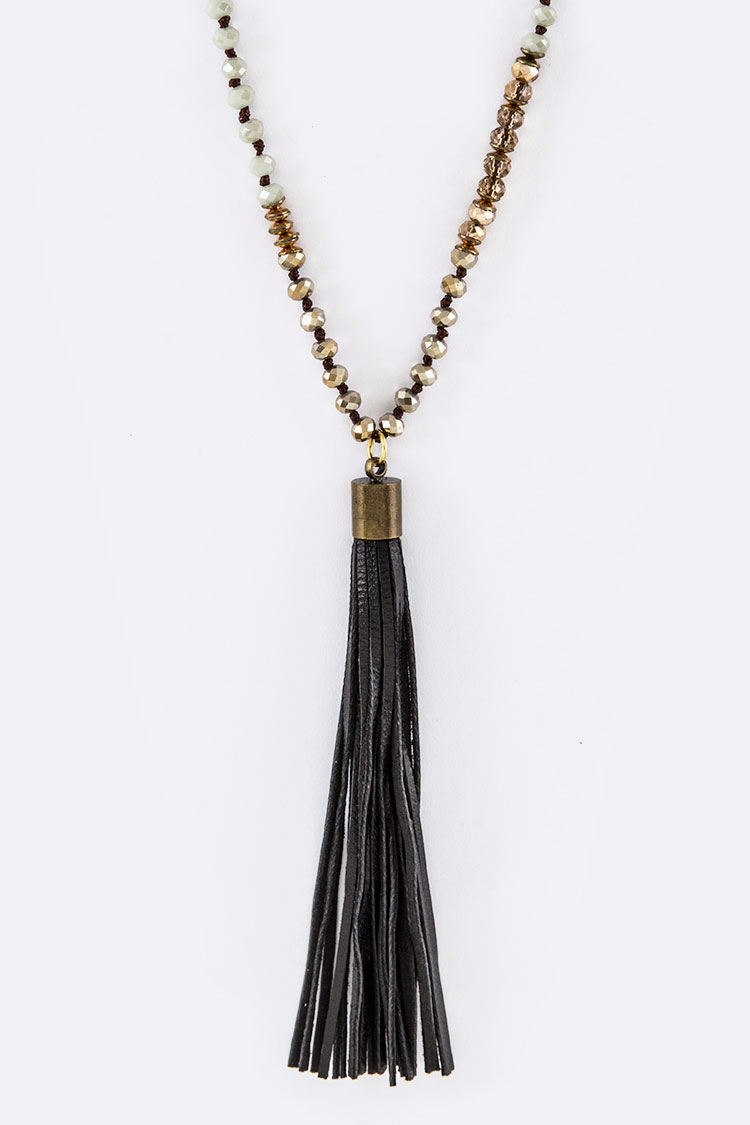 Hand Knot Crystal Leather Necklace - orangeshine.com