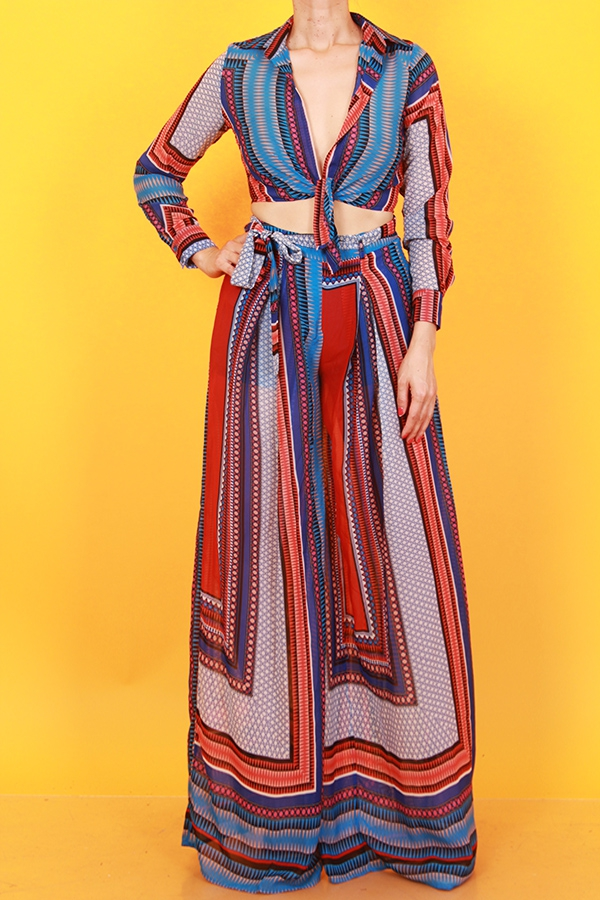 PRINTED SHIRT AND WIDE LEG PANTS SET - orangeshine.com