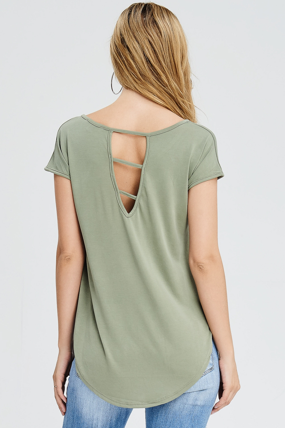 Cutout Back Cap Sleeve Top - orangeshine.com