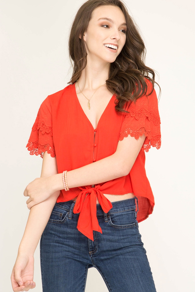 SL7574 - WOVEN BUTTON DOWN TOP - orangeshine.com