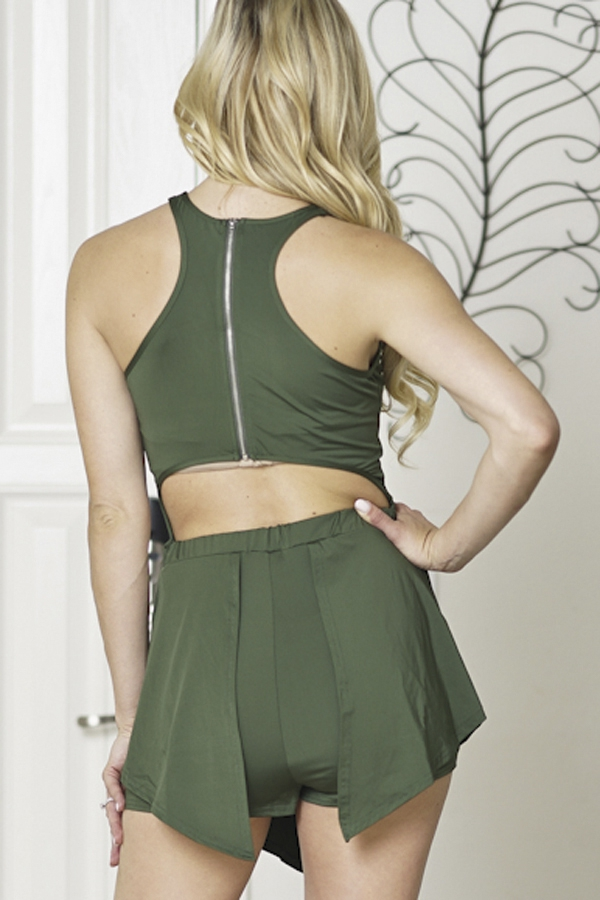 romper halter neck cut out back - orangeshine.com