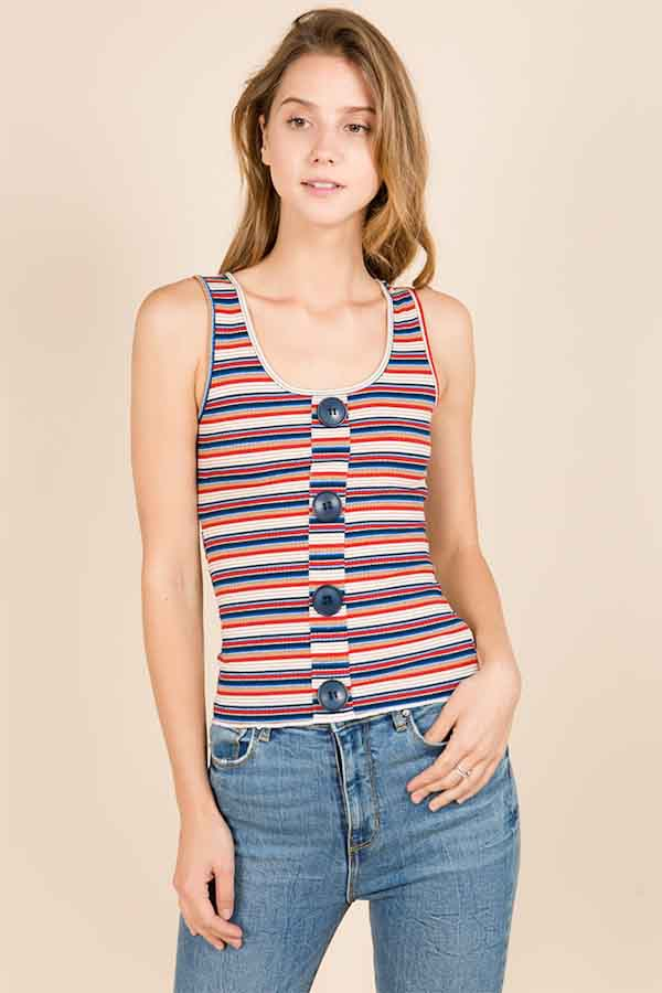 MULTI STRIPE KNIT RIB TANK TOP WITH  - orangeshine.com