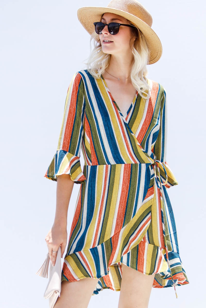 Multicolored stripe ruffle surplice  - orangeshine.com