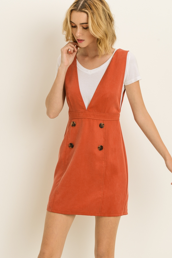 Button Pinafore Dress - orangeshine.com