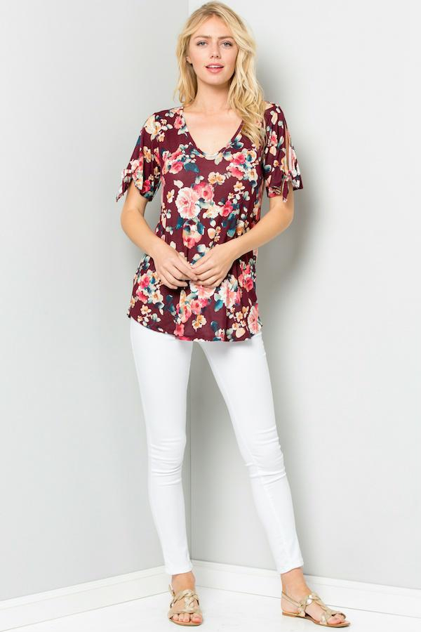 Floral Knotted Short Sleeves Top - orangeshine.com