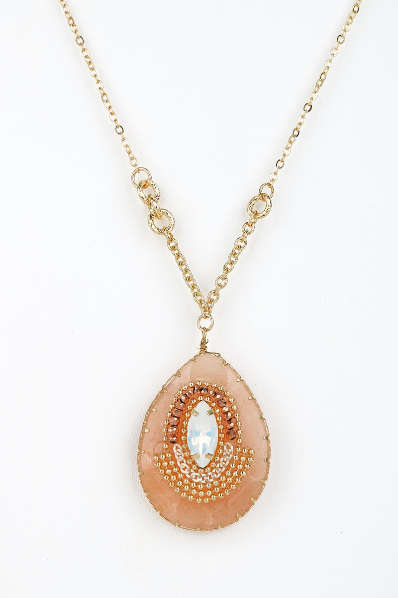 Natural Stone Pendant Long Necklace - orangeshine.com
