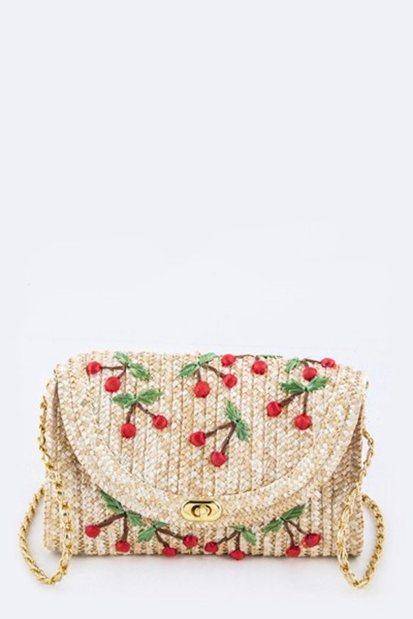 Embroidery Cherry Convertible Raffia - orangeshine.com