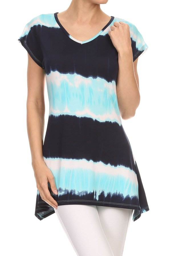Blue Tie Dye Lace Tunic - orangeshine.com