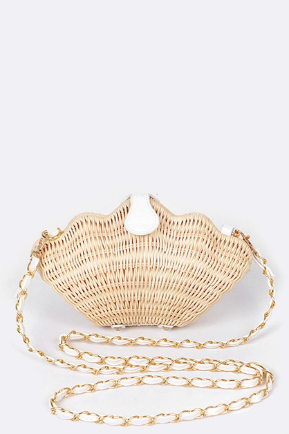 Iconic Sea Shell Raffia Straw Clutch - orangeshine.com