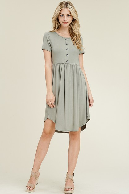 SHORT SLEEVE BUTTON DETAIL DRESS - orangeshine.com