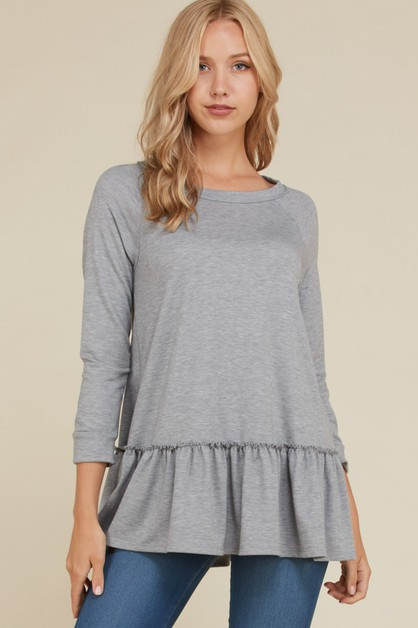 Three Quarter Sleeve Ruffle Hem Top - orangeshine.com