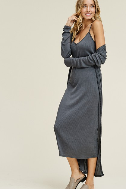 Modal Rib long cardigan with dress s - orangeshine.com
