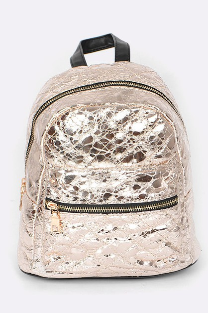 Crinkle Quilted Metallic Backpack - orangeshine.com