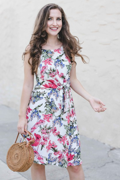 Floral Tie Waist Dress - orangeshine.com