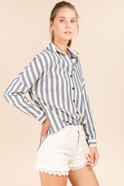 COTTON STRIPE BUTTON-DOWN SHIRT - orangeshine.com