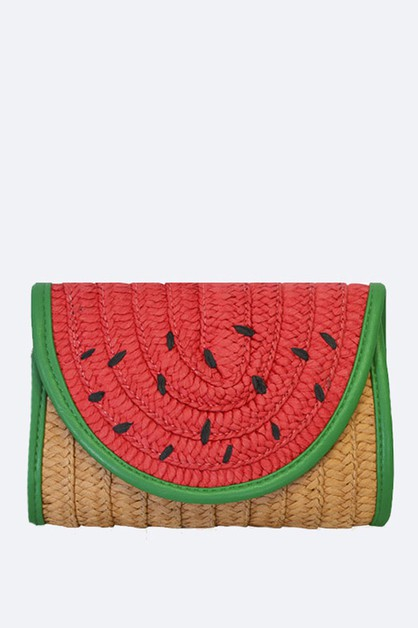 Watermelon Raffia Straw Clutch - orangeshine.com